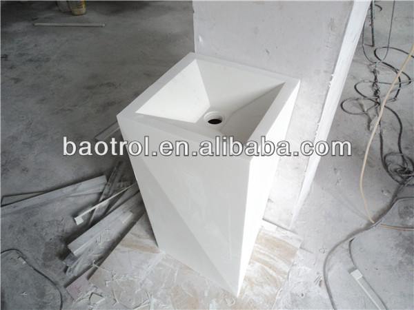 solid surface quality molded acrylic resin bathroom face basin