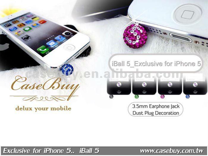 Shinning Heart Crystal ear cap anti dust plug for phone accessory