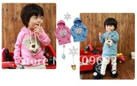 Кофта для девочек Childrens Bear hoody gilrs Sweatshirts pink, boys babys hoodies bule