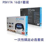 Аксессуары для PS3 16 in1 Accessory Pack Kit For PSV PS VITA/PSVITA with Gaming Grip +Touching Stylus+Headphones+ Whistle Pendant