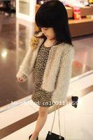 Платье для девочек Baby girls' dress kids leopard shrug shoulder 2012 Girl one piece girls long sleeve dresses