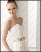 EM-A026 Luxurious A-line Strapless Sweetheart  New Style Designer Wedding Dress With 3D Flowers