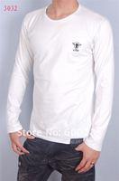 New arrivel& sales promotion 100% purified cotton men's long sleeve t-shirt round collar M-XXL#035 white