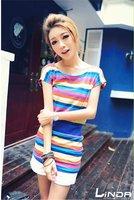 Женская футболка Joker color stripe long money short sleeve shirt/round brought/cultivate one's morality T-shirt/RG7067