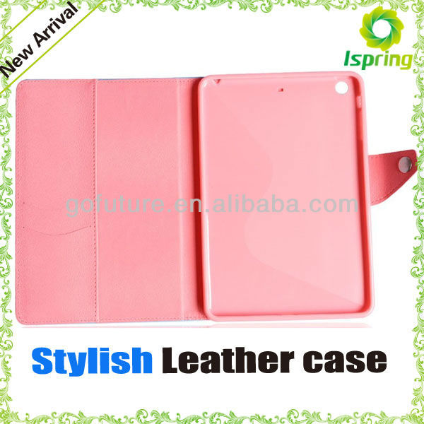 2013 factory supply, stylish custom for ipad mini leather case