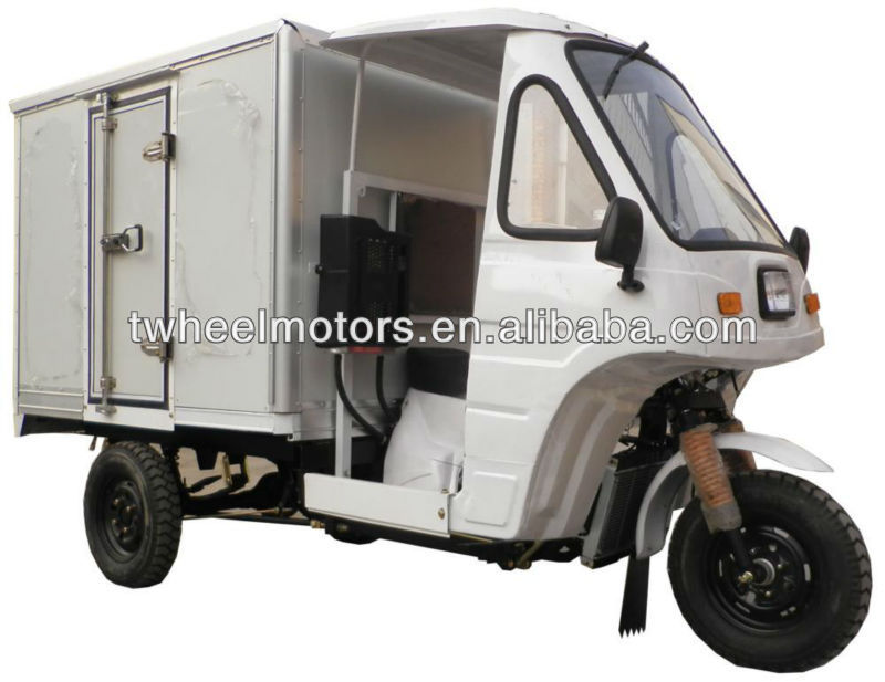 Cargo Tricycle with closed aluminum cargo box, Adult Tricycle, Three wheel motorcycle