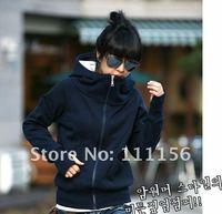 Женские толстовки и Кофты Thicken Korea Style Fashion Women Hoodies Coat Long sleeve Zip Up Outerwear, Black/Blue/Army green/Purple/Light gray