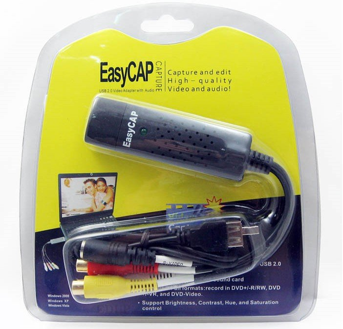 Easycap USB 2.0 enkel hette Video TV DVD VHS DVR Capture Adapter usb video capture