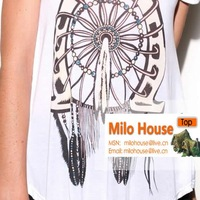 Женская футболка 2012 beautiful lovely fashion novelty feather print sexy small strapless t-shirt white