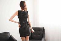 Женское платье All Express Women Solid Sheath Sleeveless Red Broadcloth Polyester Dress 0717