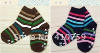 FREE SHIPPING!CHINA WHOLESALE! GOOD QUALITY BABY COTTON SOCKS, STRIPE DESIGN ANTI SLIP, 0-3YEARS, 4 COLOR WAY, 12PAIRS/LOT