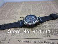 1pcs Free Shipping Fashion elegant Fashion Analog -Digital Sports  Watch rubber strap black 500