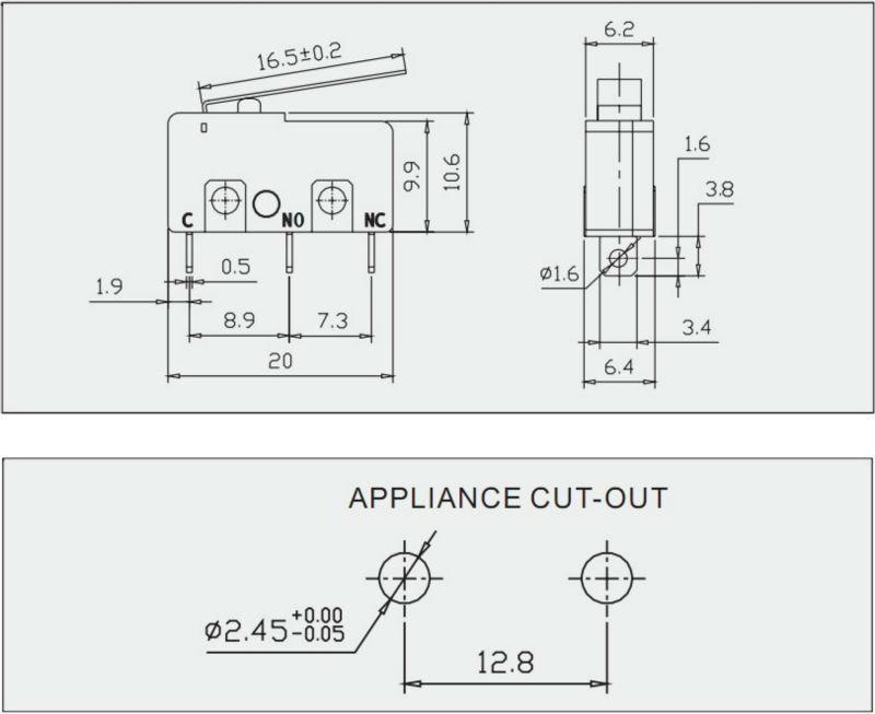 Spdt/spst commutateur miniature micro/micro avec n. C/n. O. De juicer, agitateur, mélangeur, appareil de fabrication en chine
