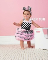 Платье для девочек baby girl dress magic cube summer ruffles spot lace and bow toddler party Ribbon dress Reserve Style New