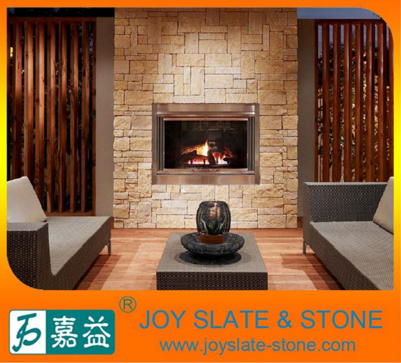 natural yellow limestone split face stone tile