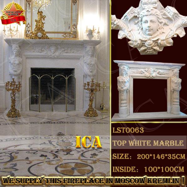 Cubierta de mármol blanco chimenea, chimenea de piedra chimenea ...