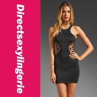 Женское платье Lady Print Fashionable Ladies' Heartthrob Mini Dress in Black Mesh Polka Dot, OL Dress LC2767 Bodycon