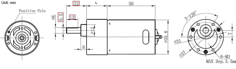 37mm Km 37b545 High Torque Dc Gear Motor 12v For Linear Actuator 12v 45rpm No Load Gear