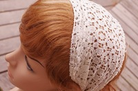 Free shipping!whole sell jersey stretch lace soft headband hair band head dress hair bow clips kerchief hat cap EHB002