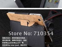Free Shipping 5pcs/lot Special design West cowboy armor stand case leather pouch leather case for ipad 3 & ipad 2