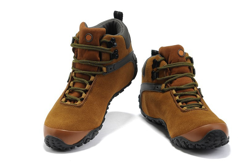 2014 New Suede Genuine Leather Men Hiking Shoes Plush Winter