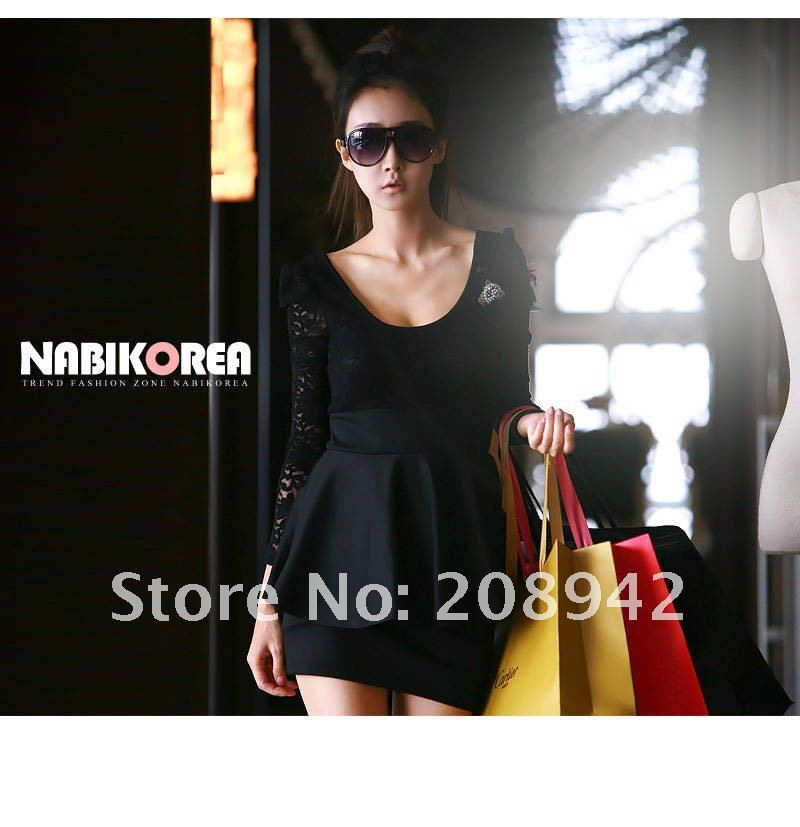 Best selling 2012 new nobility Slim sexy fitted - lace stitching dresses