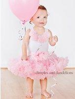 Комплект одежды для девочек Pink baby girl dress /Baby suit: sleeveless top with four flowers+ pink tutu dress