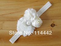 Детский аксессуар для волос 15 colors 20pcs / lot New Design Chiffon Flowers with rhinestones Fabric Flowers for Baby headbands