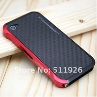 Чехол для для мобильных телефонов Vapor 4 case for iphone 4 4s, deluxe aluminium bumper for iphone4, Carbon Fiber Back for iphone 4g, +high quality