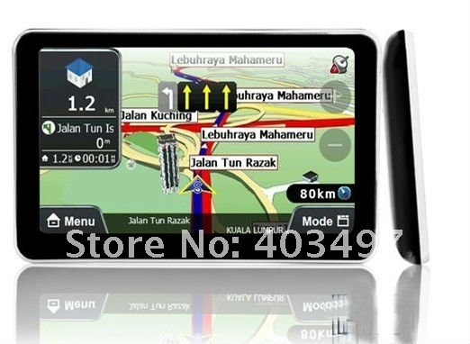 HD 800X480 5 inch Car GPS Navigator without Bluetooth&AV IN 4GB load 3D Map   RAM128M with wall charger