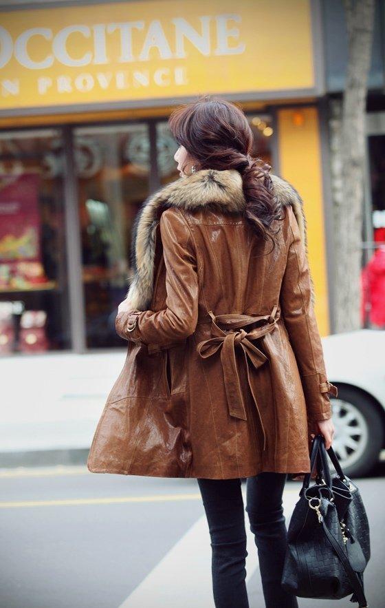 Кожаное меховое пальто женское