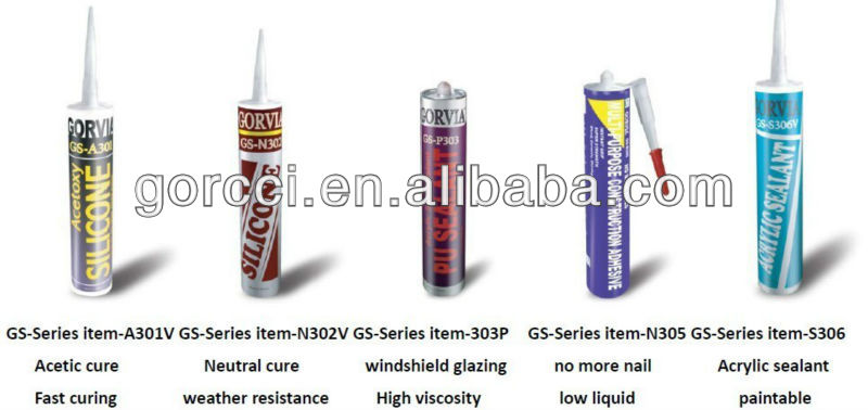 Acétoxy mastic silicone/mastic silicone tout usage