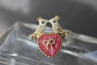 BJ элегантное кольцо розовое сердце и золотой птицы имеют соответствующие браслет и ожерелье /#ss055