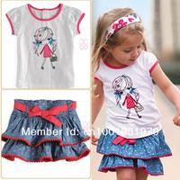 Комплект одежды для девочек 2013 2-pcs 100%cotton lovely baby clothes suit kids clothing set, 5 set/lot