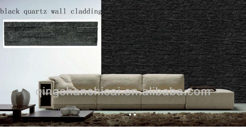 Cristal de quartzo preto interior paredes de tijolos - Piedra decorativa interior ...
