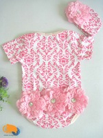 Детский комбинезон retail, baby girl short sleeve rompers, baby rompers set, big flower, infant summer wear