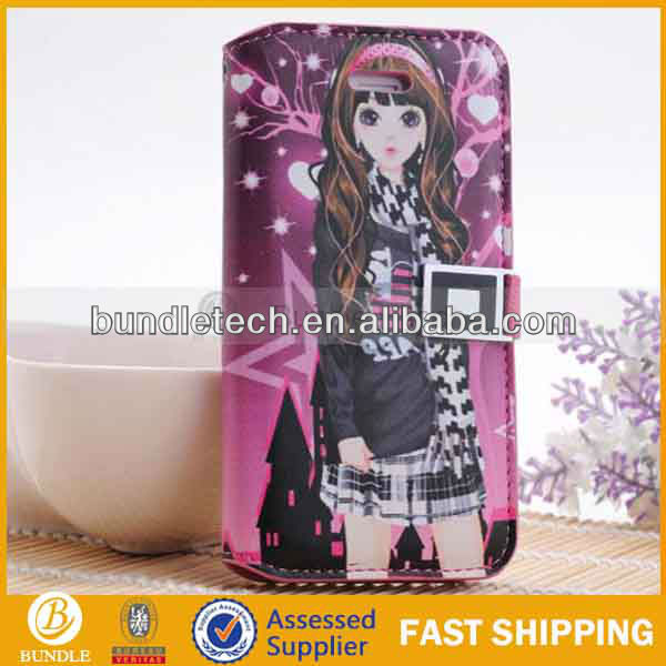 Cute girl flip top case for iphone 5
