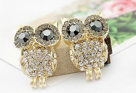Fashion black eye diamond gold plated owl stud earrings Free shipping Min.order $15 mix order EE23218