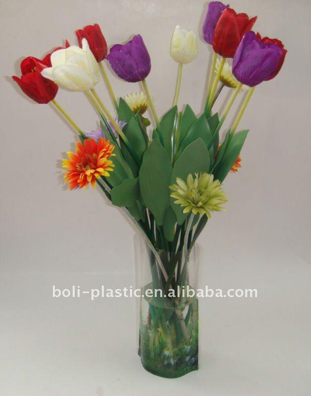 Clear plastic flower vases