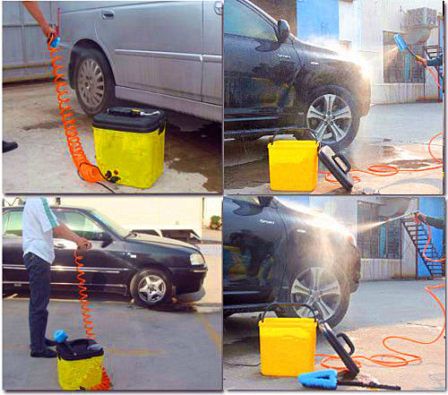 Electric car washer with concentrated detergent jar