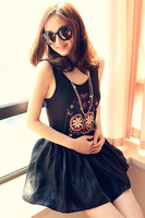 2 Colors Women European Fashion Flower Skull Head Sleeveless Shirt Vest YWF-0104