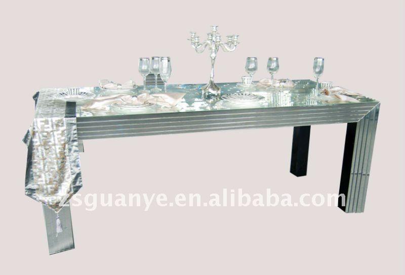 현대 작풍 은 거울은 큰 식당 테이블, 비친 테이블, 비친 가구 ...