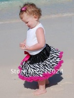 Юбка для девочек Hotsale, factory outlets, smooth cloth+fashion zebra+good packaging, girls fashion pettiskirts, babys dress