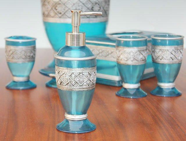 Hot Selling 6pcs Modern Blue Polyresin Bathroom Set Buy Tissue Box Set With