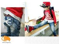 New Boy fashion little cat skinny jeans,spring autumn denim pants,kids trousers,children wear,free shipping 5 pcs/lot