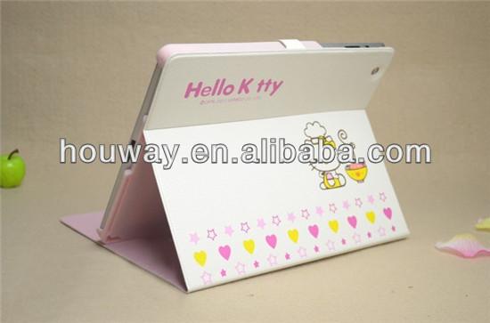Kawayi Cute Hello kitty pattern cartoon PU Leather Case For iPad 4 ipad 3 ipad 2 Smart Cover Magnetic back case