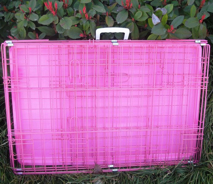 "Hot Sale 36"" Pink Folding Dog Crate Cage Kennel With ABS Tray"