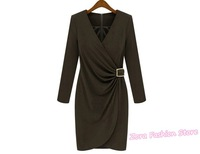 2012 Korea New Trendy Celebrity Style Long Sleeve V Neck WRAP BUCKLE SHIRRING Dress, Autumn Women Cotton Sexy Club Party Dresses