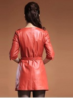 The Long Slim round neck Haining sheepskin jacket