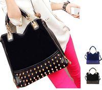 Детали и Аксессуары для сумок 2013 new rivet Studded stitching flannel shoulder bag brand fashion Messenger handBag mulheres saco couro PU bolsa de ombro